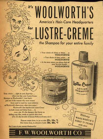 Lustre Cream's shampoo – It's WOOLWORTH'S America's Hair-Care Headquarters for LUSTRE-CREME the Shampoo for your entire family (1954)