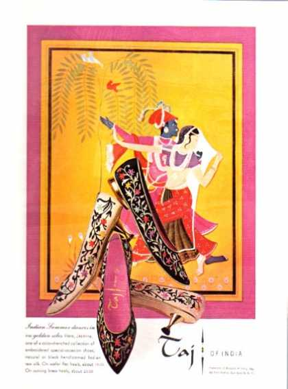 Taj of India Silk Designer Shoes Print Dancers (1962)