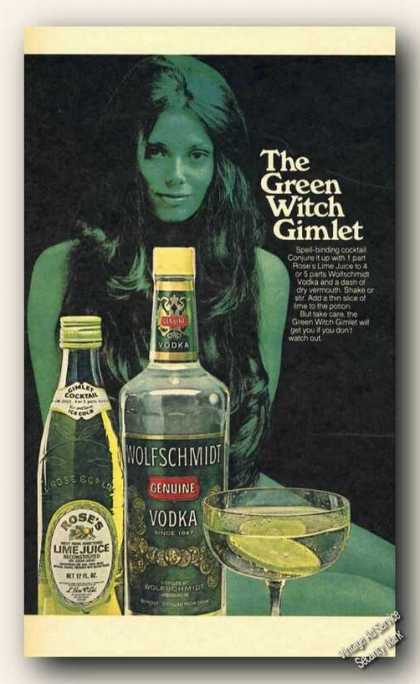 Green Witch Gimlet Wolfschmidt Vodka (1973)