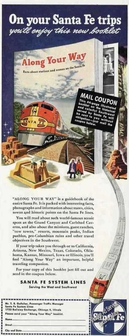 On Your Santa Fe Trips Ad Free Coupon Offer (1946)