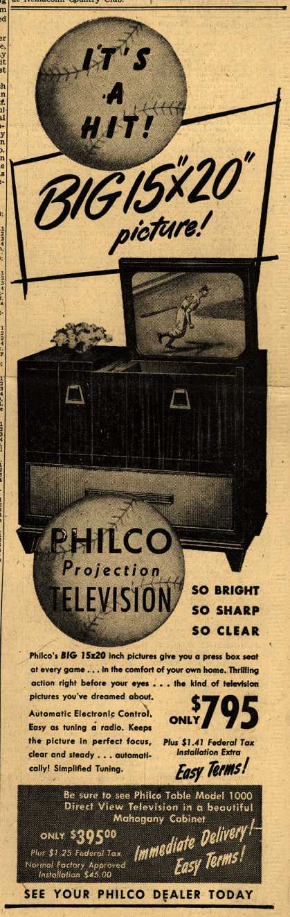"Philco – It's A Hit! Big 15"" x 20"" picture (1947)"
