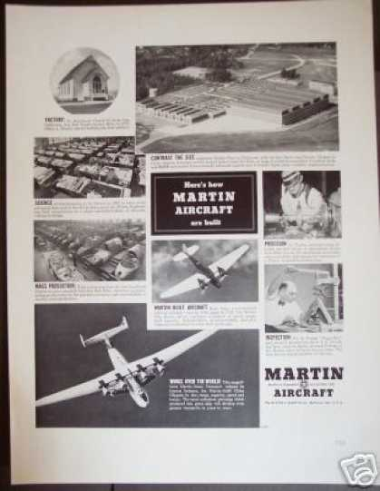 Martin Aircraft Plane 1st Factory Photo (1939)
