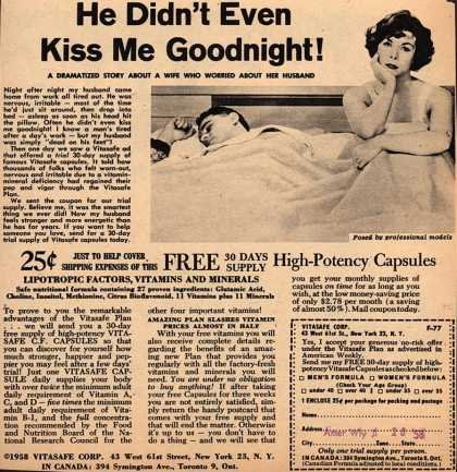 Vitasafe Corporation's Vitasafe C. F. Capsules – He Didn't Even Kiss Me Goodnight (1958)