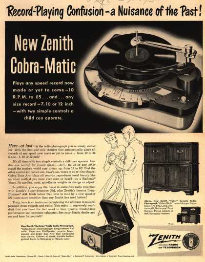 Zenith Radio Corporation's Cobra-Matic – Record-Playing Confusion – a Nuisance of the Past (1950)