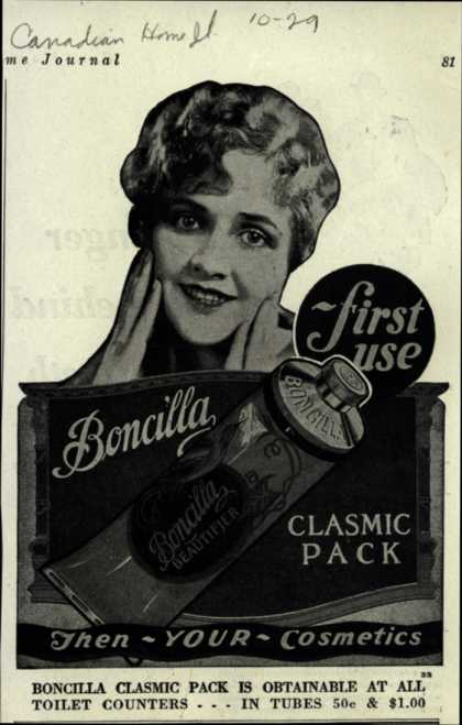 Boncilla Laboratorie's Boncilla Cosmetics – first use Boncilla Clasmic Pack (1929)