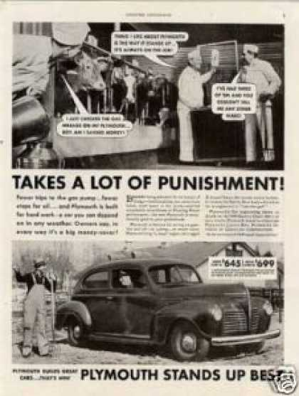 "Plymouth Car Ad ""Takes a Lot of Punishment... (1940)"