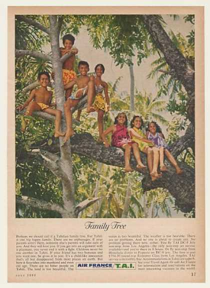 Air France Airlines Tahiti Tahitian Family Tree (1962)