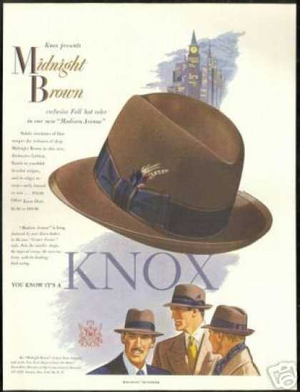 Madison Avenue Midnight Brown Knox Art Hat (1951)