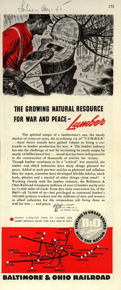 Baltimore & Ohio Railroad's transporting lumber – THE GROWING NATURAL RESOURCE FOR WAR AND PEACE-Lumber (1945)