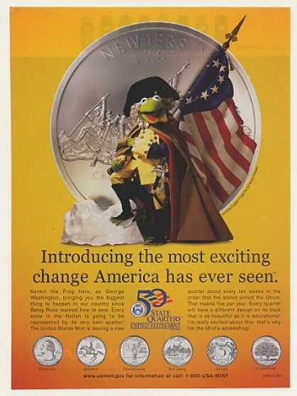 Kermit the Frog George Washington NJ Quarter (1999)