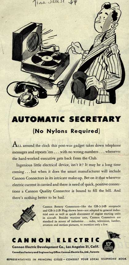 Cannon Electric Development Company's Cannon Battery Connector – Automatic Secretary (No Nylons Required) (1944)
