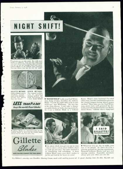 Gillette Blades Ad W Paul Whiteman King of Jazz (1938)