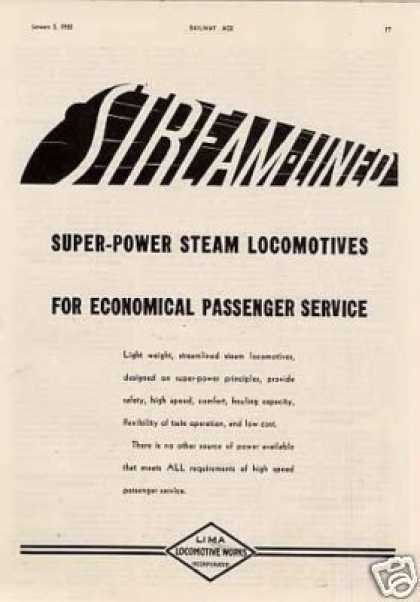 "Lima Locomotive Ad ""Streamlined Super-power... (1935)"