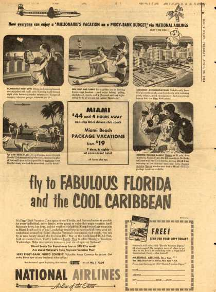 National Airline's Florida and Caribbean – fly to Fabulous Florida and the cool Caribbean (1954)