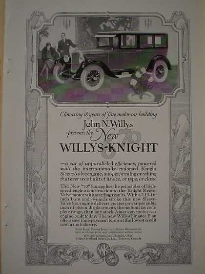 Willys Knight Automobile AND Seeger Refrigerator (1926)