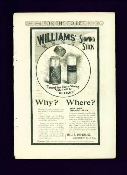 Williams' Shaving Stick Ad C Nice Illustrati (1895)