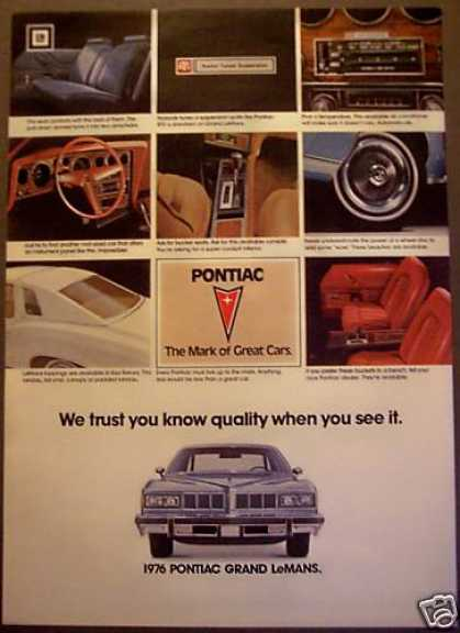 Pontiac for '76 Grand Lemans Car (1975)