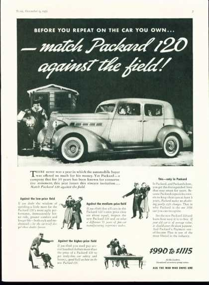 Packard 120 Automobile Ad – Art Deco Styled (1935)
