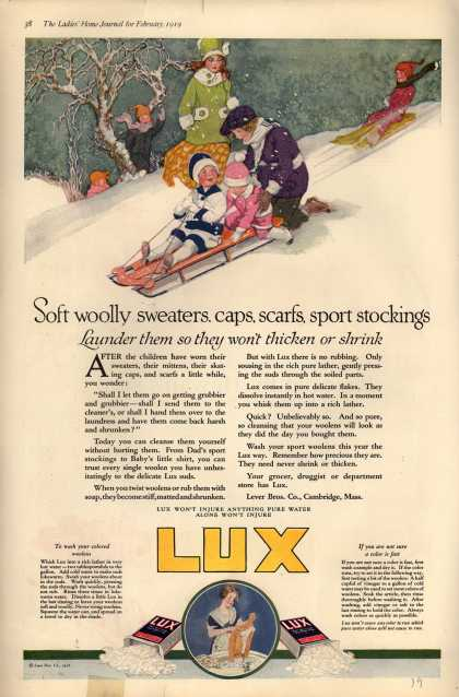 Lever Bros.'s Lux (laundry flakes) – Soft woolly sweaters, caps, scarfs, sport stockings (1919)