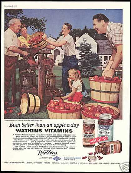 Watkins Vitamins Antique Cider Mill Press Apple (1958)