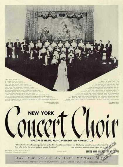 New York Concert Choir Group Photo Rare Trade (1955)