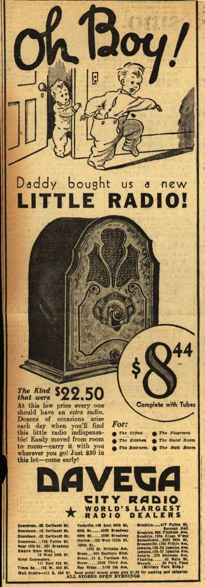 Davega's Radio – Oh Boy! Daddy bought us a new Little Radio (1932)