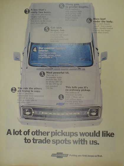 Chevy Trucks. A lot of other pickups would like to trade spots with us. (1970)