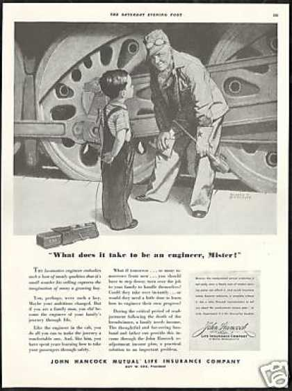 Railroad Train Engineer John Hancock Insurance (1939)