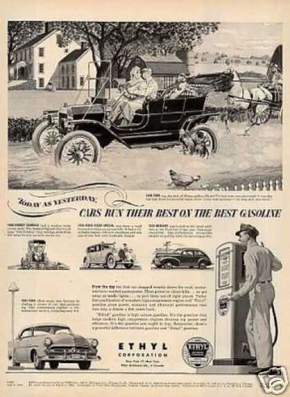 Ethyl Gasoline Ad 1908 Ford Car (1952)