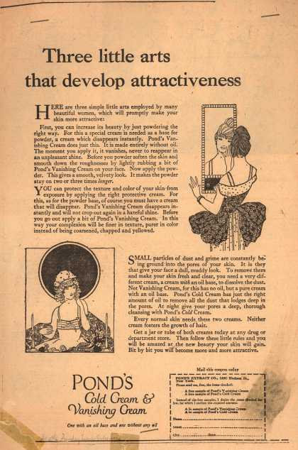 Pond's Extract Co.'s Pond's Cold Cream and Vanishing Cream – Three little art that develop attractiveness (1920)
