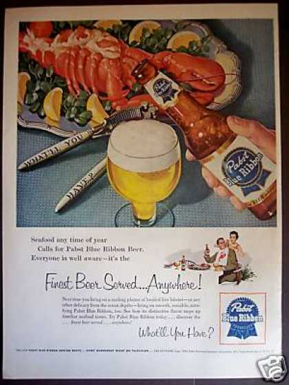 Pabst Blue Ribbon Beer Pbr W Lobster (1954)