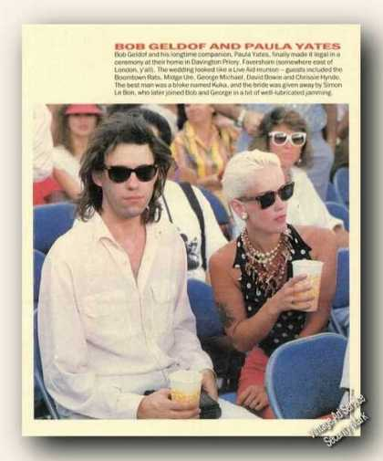 Bob Geldof/paula Yates Magazine Picture Feature (1986)