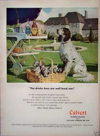 Calvert Whiskey English Spaniel Dog Puppies Basket (1947)