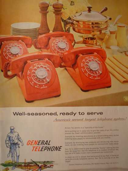 General Telephone Rotary Dial Phone Red (1959)