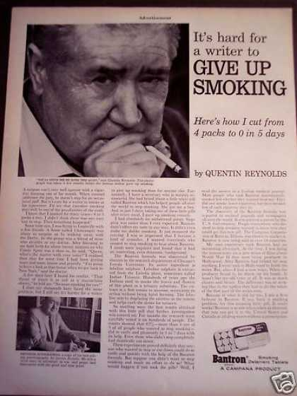 Quentin Reynolds Stop Smoking By Taking Bantron (1963)
