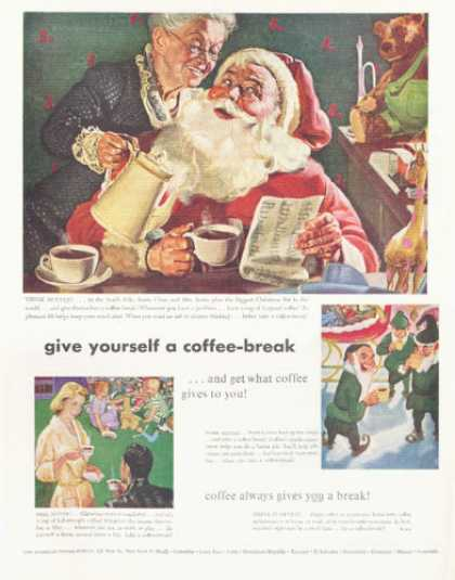 Coffee Mrs Mr Santa Claus Elves (1952)