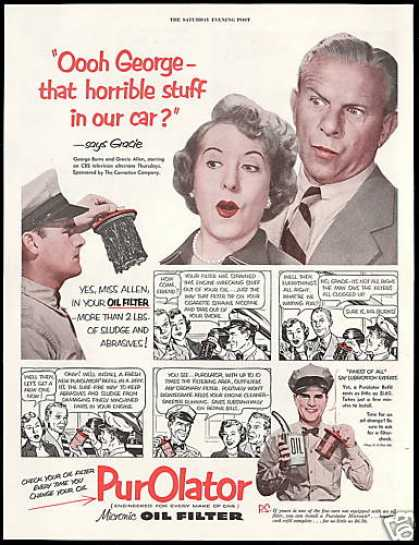 George Burns Gracie Allen Purolator Oil Filter (1952)