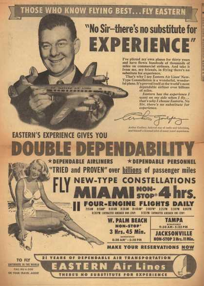 """Eastern Air Lines – Those Who Know Flying Best... Fly Eastern. """"No Sir – There's No Substitute for Experience"""" (1950)"""