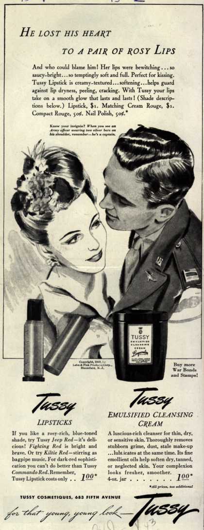 Lehn & Fink Products Corp.'s Tussy Cosmetics – He Lost His Heart To A Pair Of Rosy Lips (1943)