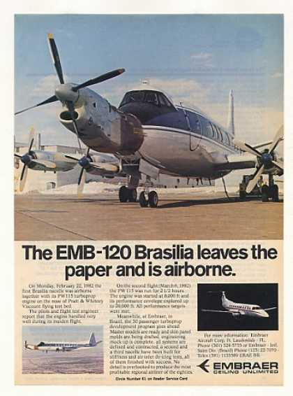 Embraer EMB-120 Brasilia Airplane Test Flight (1982)
