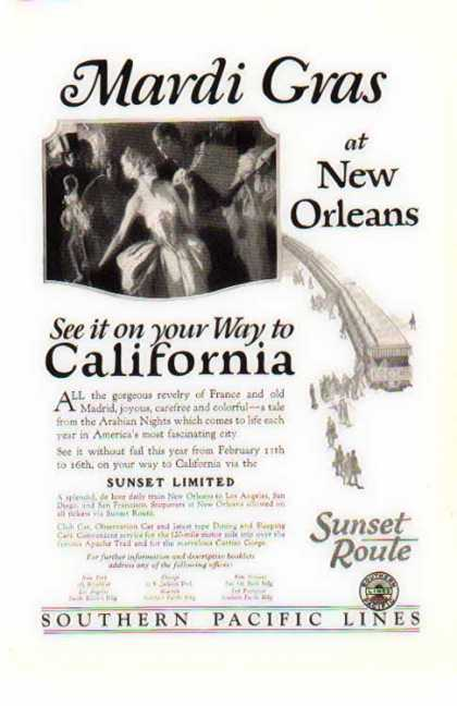 Southern Pacific Railroad – New Orleans Mardi Gras (1926)