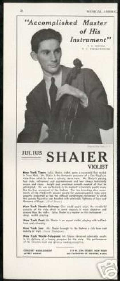 Julius Shaier Violist Vintage Photo Reviews (1939)