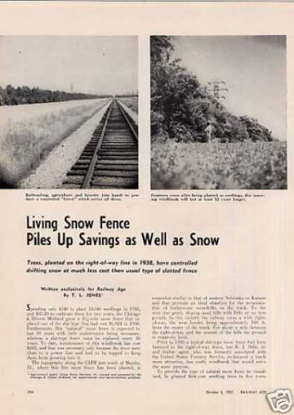 """Living Snow Fence Piles Up..."" Article/c&im (1952)"