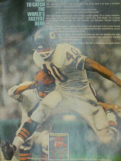 Sports Illustrated. How to catch the worlds fastest bear. Gale Sayers (1970)