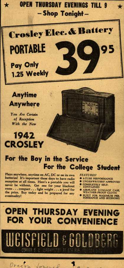 Crosley Corporation's Radio – Crosley Elec. & Battery PORTABLE 39.95 (1942)