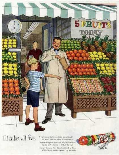 Five Flavor Life Savers Boy at Fruit Stand (1947)