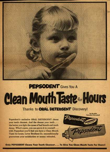 Lever Brothers Company's Pepsodent Tooth Paste – Clean Mouth Taste for Hours (1953)