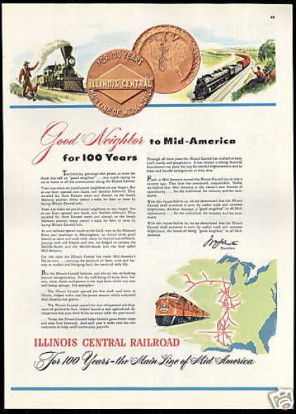 Illinois Central Railroad Train 100th Year (1951)