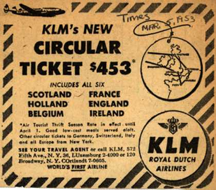 KLM Royal Dutch Airline's Circular ticket – KLM's New Circular Ticket $453 (1953)