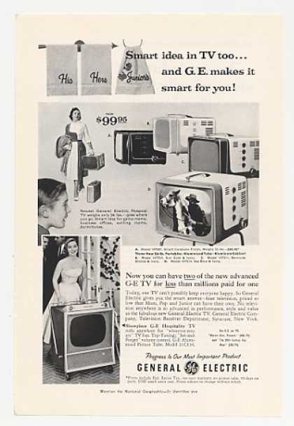 GE General Electric Personal TV 4 Models (1956)